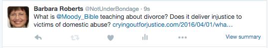 Tweet from @NotUnderBondage (Barb Roberts' twitter handle)