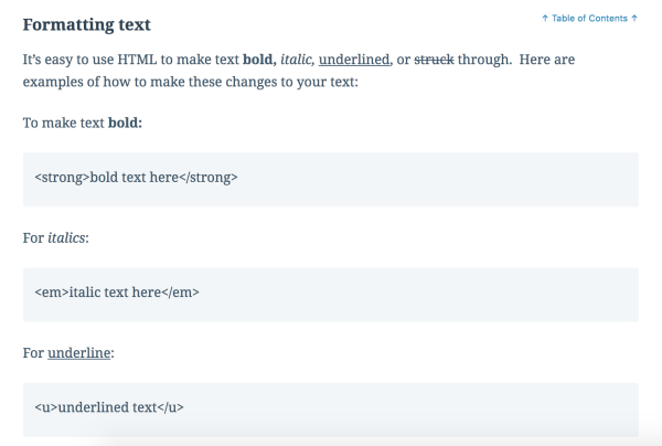 Formatting text in HTML