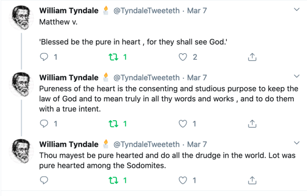 Tyndale's comments on Blessed be the pure in heart
